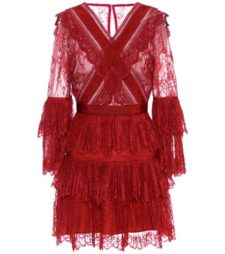 Self-Portrait - Lace Minidress - Red