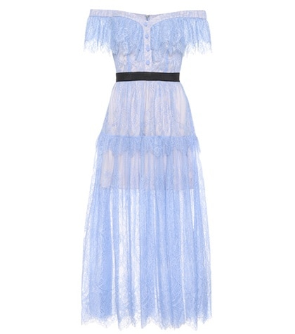 Self-Portrait - Lace Off-The-Shoulder Midi Dress - Blue