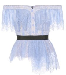 Self-Portrait - Lace Off-The-Shoulder Top - Blue