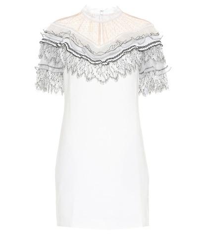 Self-Portrait - Lace-Trimmed Minidress - White