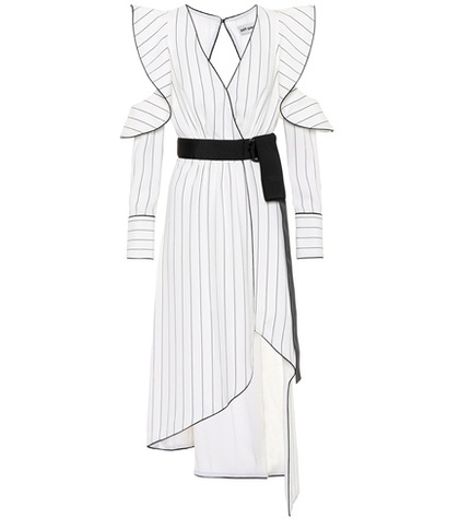Self-Portrait - Monochrome Asymmetric Crêpe Dress - White
