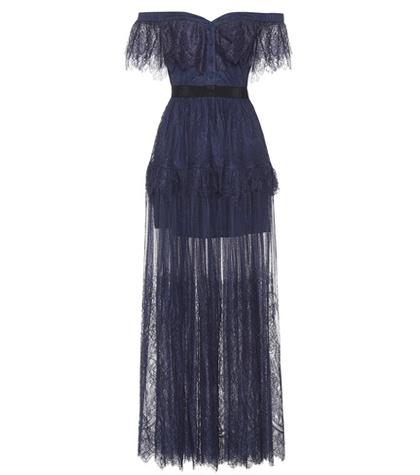 Self-Portrait - Off-The-Shoulder Lace Dress - Blue