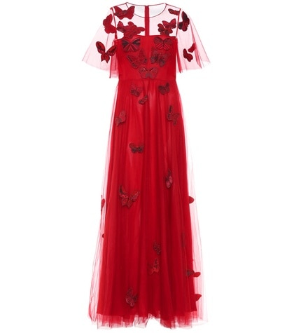 Valentino - Embellished Tulle Gown - Red