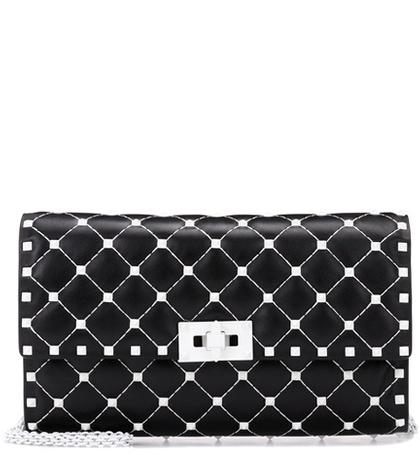 Valentino -  Free Rockstud Spike Leather Shoulder Bag - Black