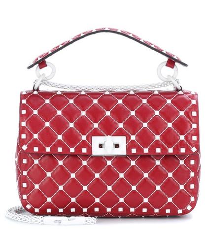 Valentino -  Free Rockstud Spike Medium Leather Shoulder Bag - Red