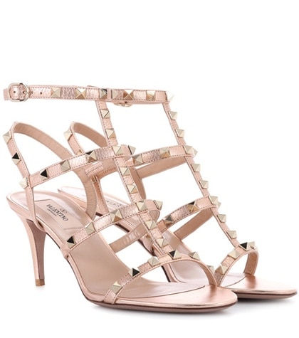 Valentino -  Rockstud Leather Sandals - Metallic