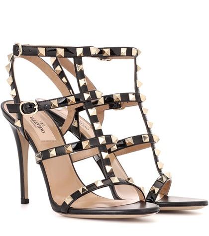 Valentino -  Rockstud Patent Leather Sandals - Black