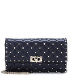 Valentino -  Rockstud Spike Leather Shoulder Bag - Blue