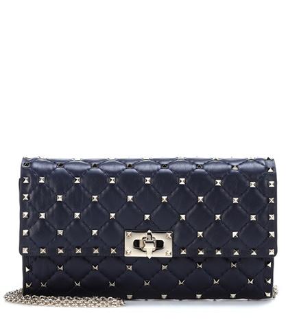 Valentino -  Rockstud Spike Leather Shoulder Bag - Blue