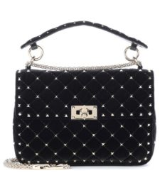 Valentino -  Rockstud Spike Velvet Shoulder Bag - Black