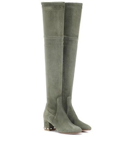 Valentino -  Rockstud Suede Over-The-Knee Boots - Green