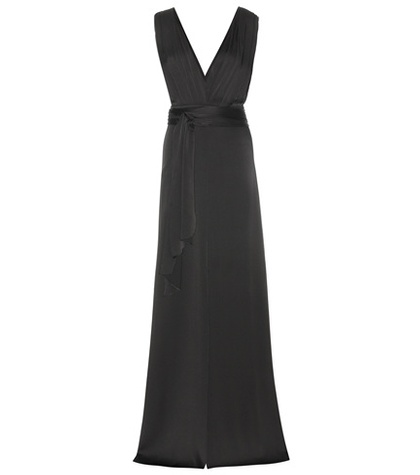 Victoria Beckham - Draped Satin Dress - Black