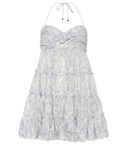 Zimmermann - Linen And Cotton Minidress - Blue