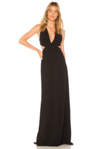 Halston Heritage - Deep V Neck Gown - Black