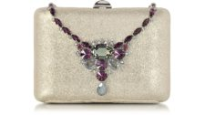 Rodo - Laminated Suede Collier Clutch with Crystals