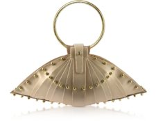 Una Burke - Cream Leather Shell Bag with Studs
