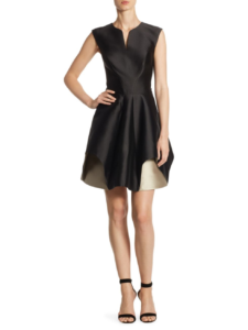 Halston Heritage - Cap Sleeve Notch Fit & Flare Dress - Black