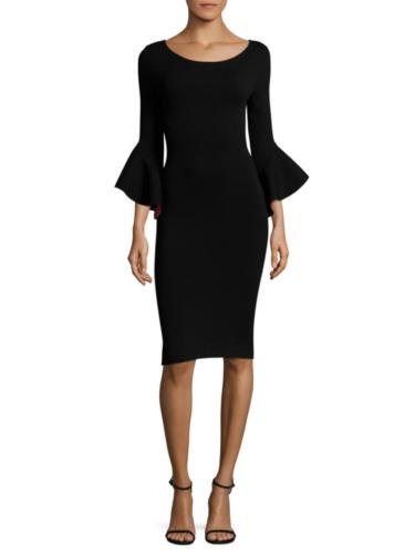Milly - Contrast Draped Sleeve Sheath Dress - Black
