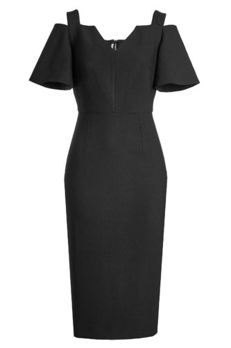 Roland Mouret - Tailored Dress with Cut-Out Shoulders - Black