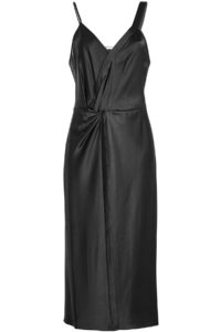 T By Alexander Wang - Twisted Satin Dress - Black