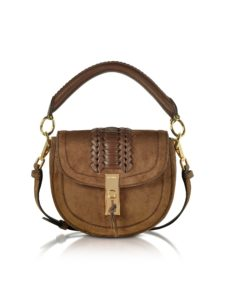 Altuzarra - Chocolate Suede Ghianda Top Handle Mini Saddle Bag