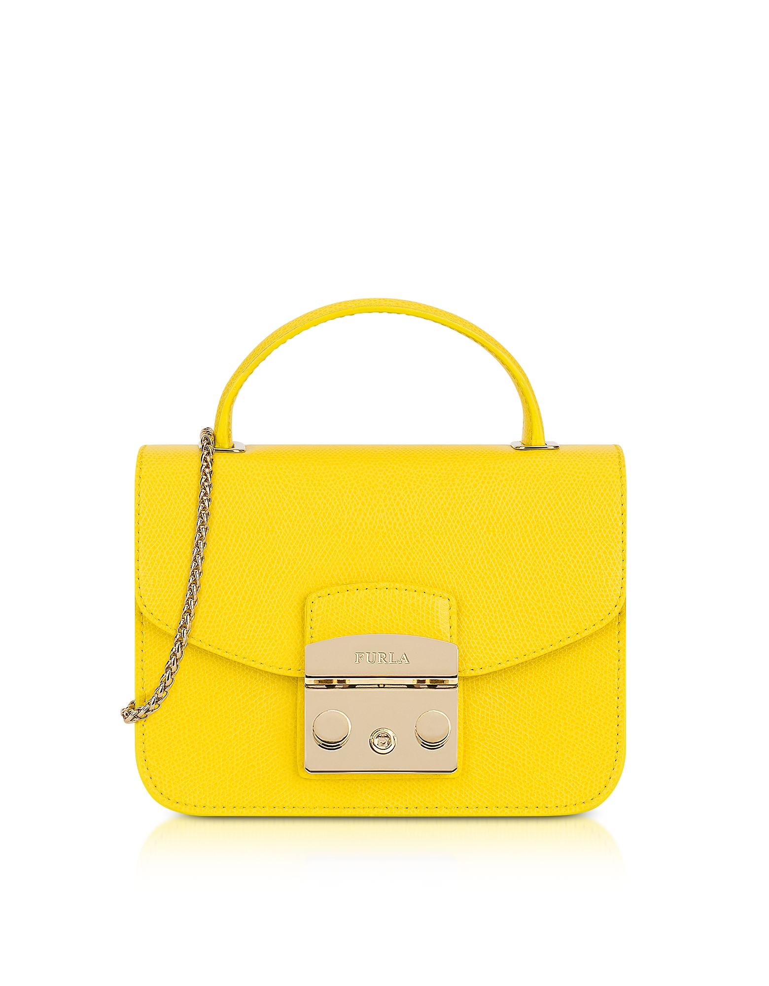 Furla – Bright Yellow Metropolis Mini Top Handle Crossbody Bag