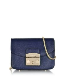 Furla - Metropolis Mini Navy Blue Leather Crossbody Bag