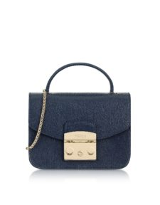 Furla - Navy Blue Metropolis Mini Top Handle Crossbody Bag