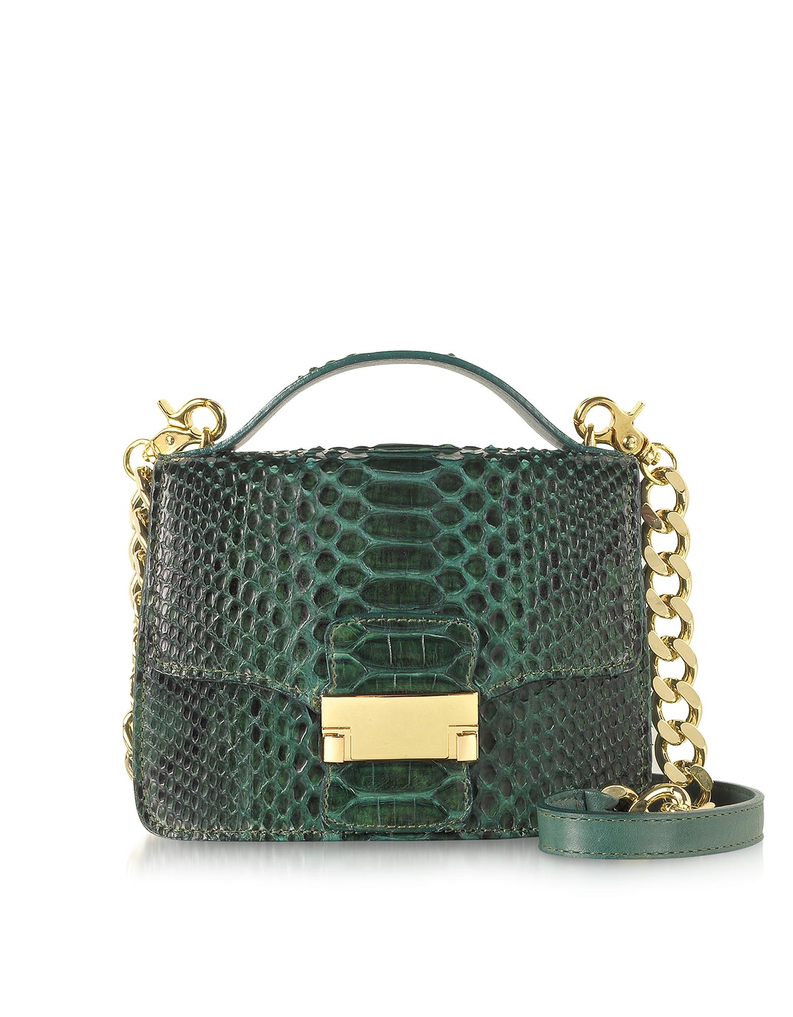 Ghibli - Emerald Green Python Leather Shoulder Bag