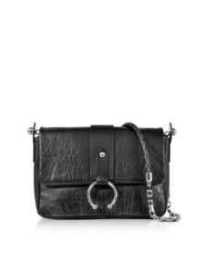 RED Valentino - Black Hammered Leather Shoulder Bag