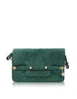 1a9106b8723 RED Valentino - Dark Green Crackled Metallic Leather Flap Top Crossbody Bag