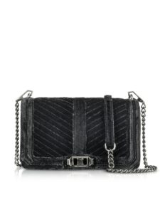 Rebecca Minkoff - Black Chevron Quilted Velvet Love Crossbody Bag