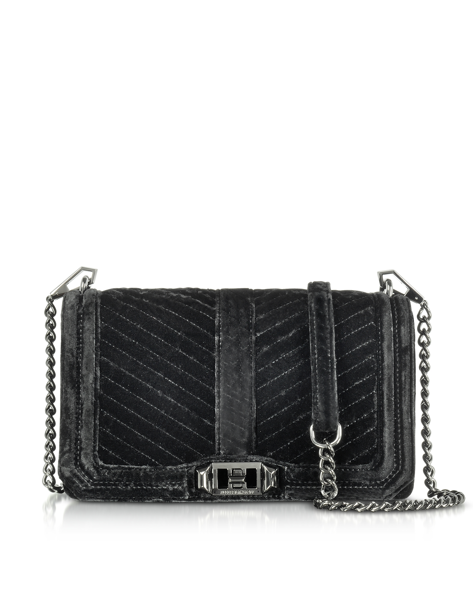 Rebecca Minkoff Black Chevron Quilted Velvet Love
