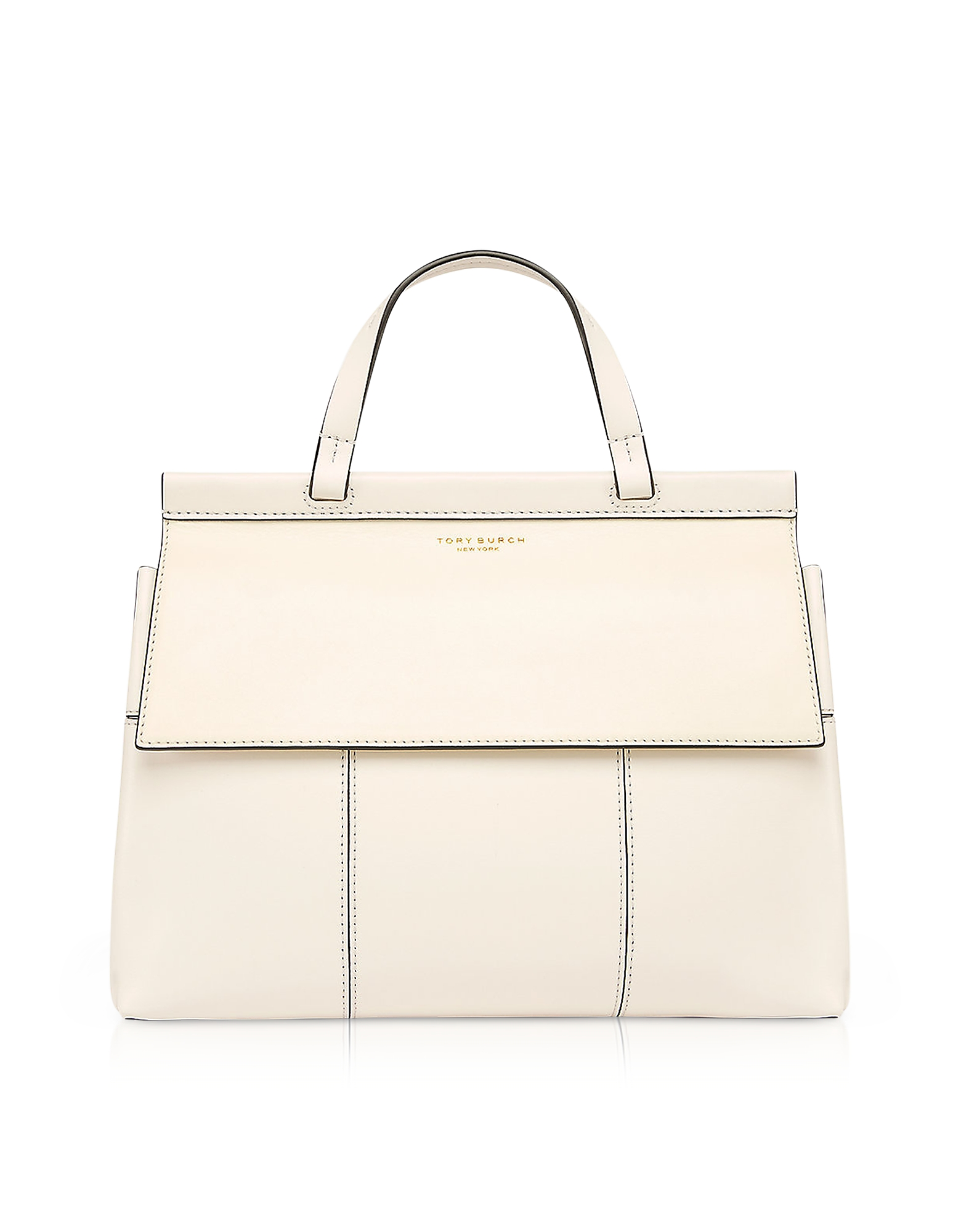 dda87d30b0fe Tory Burch – Block-T New Ivory and Royal Navy Leather Top Handle Satchel Bag