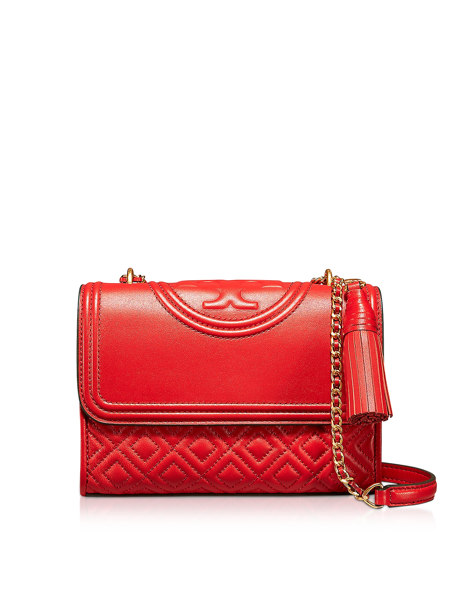 0697e67dabb Tory Burch – Fleming Exotic Red Leather Small Convertible Shoulder Bag
