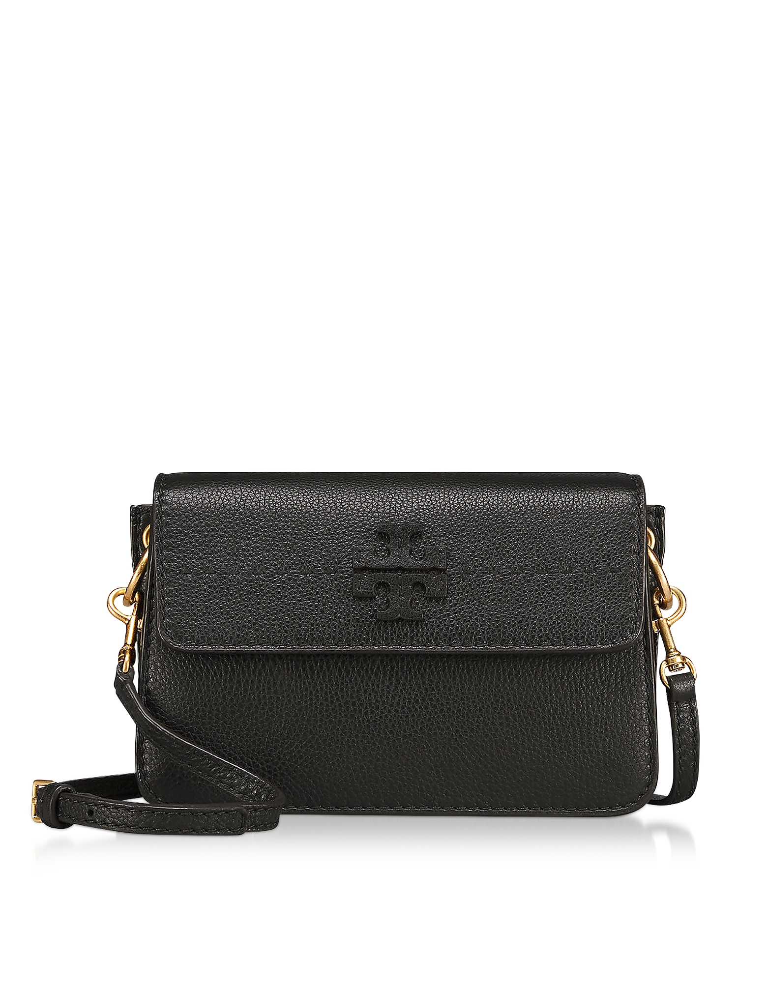 d74f71ce9624 Tory Burch - McGraw Black Pebbled Leather Crossbody Bag