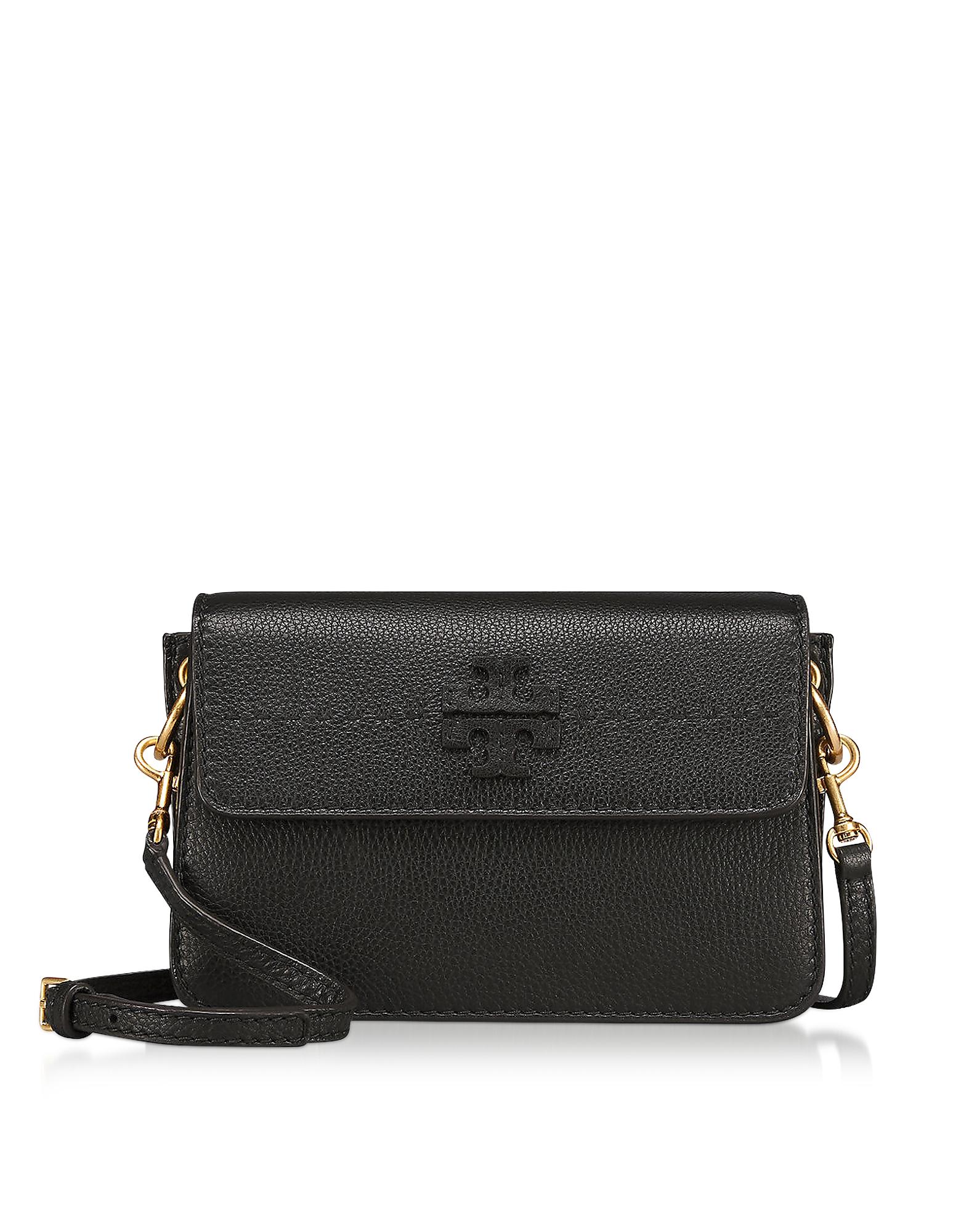 Tory Burch - McGraw Black Pebbled Leather Crossbody Bag  dcba5ffb84d99