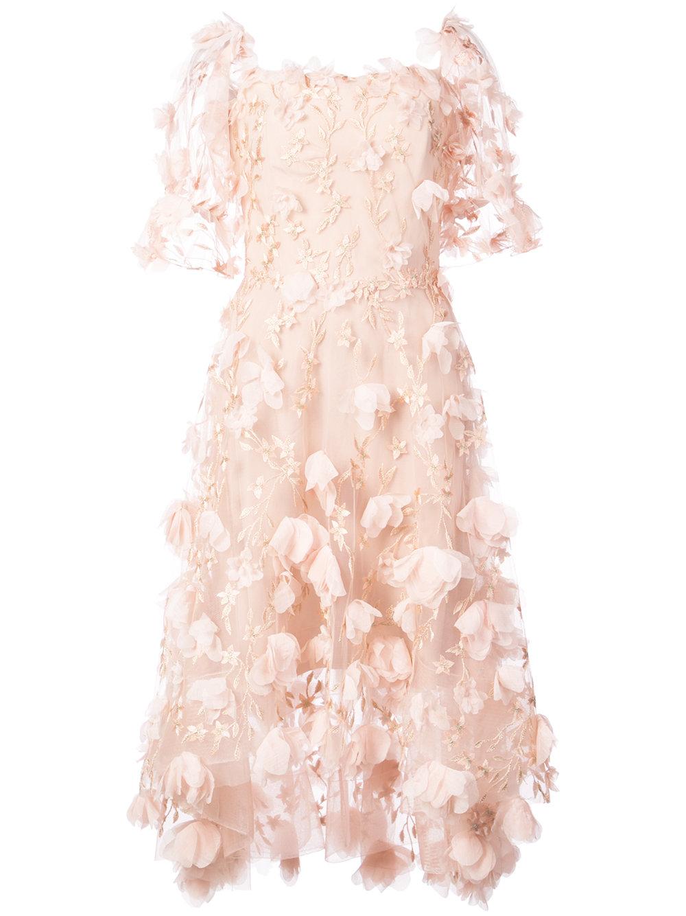 Marchesa Notte 3d Appliqu Flower Dress Pink Fashion Style Fan