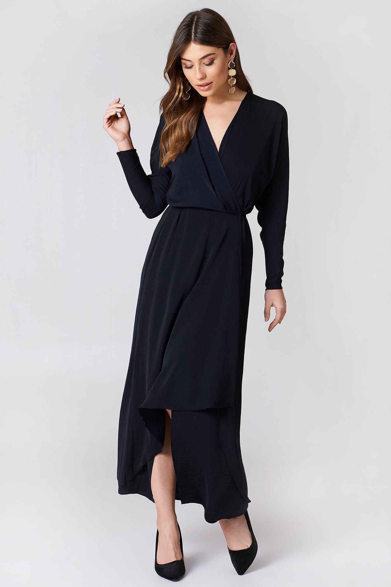 Filippa K Drapey Wrap Dress Navy Fashion Style Fan