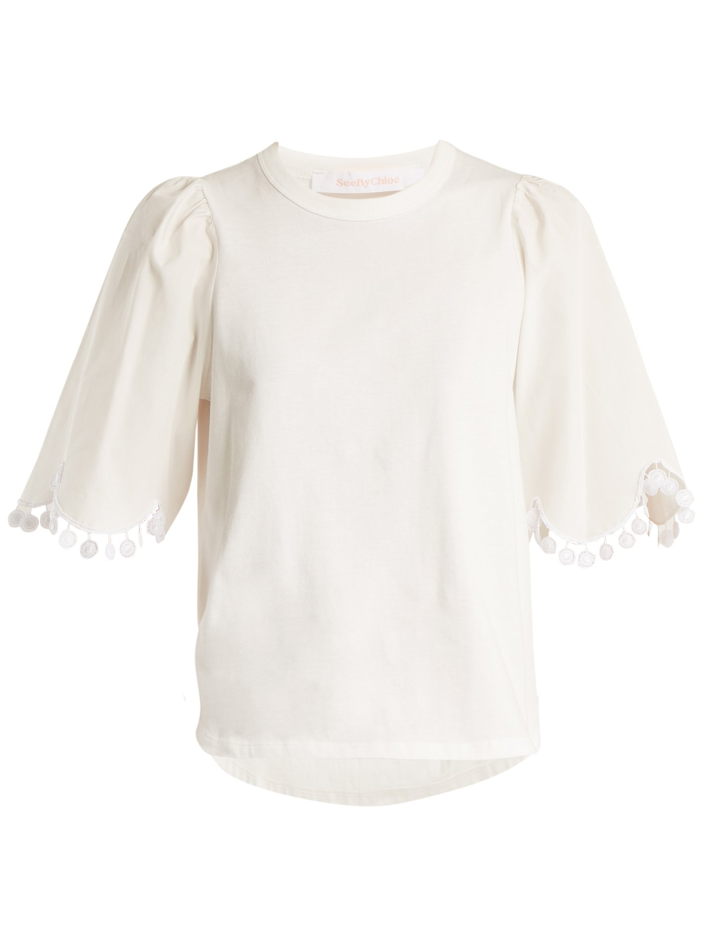 See By Chloé Lace Trimmed Short Sleeved Cotton T Shirt White