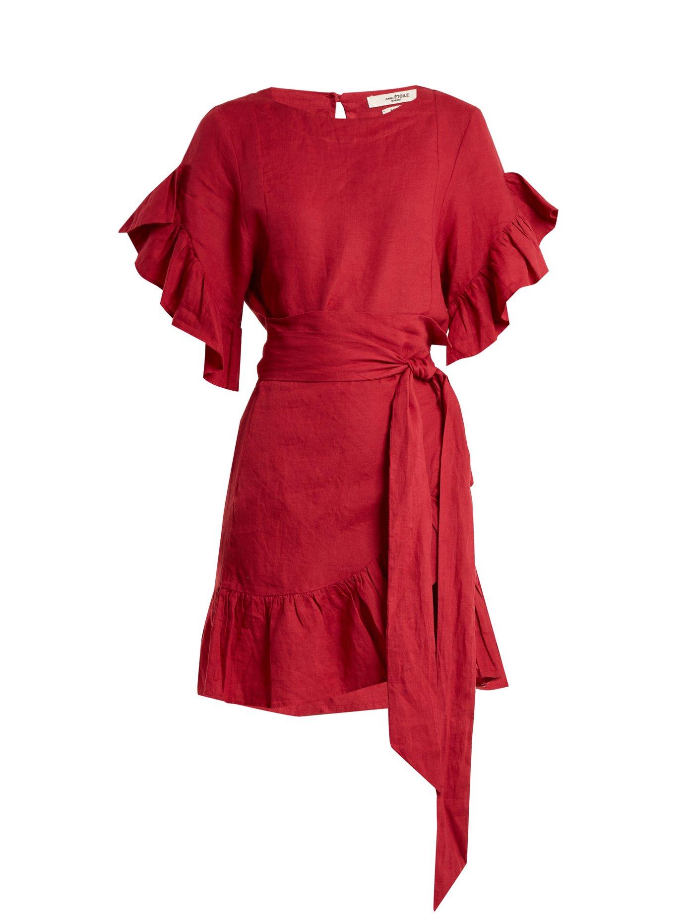 a75d487a31b Isabel Marant Étoile - Delicia Ruffle-Trimmed Linen Wrap Dress - Red ...