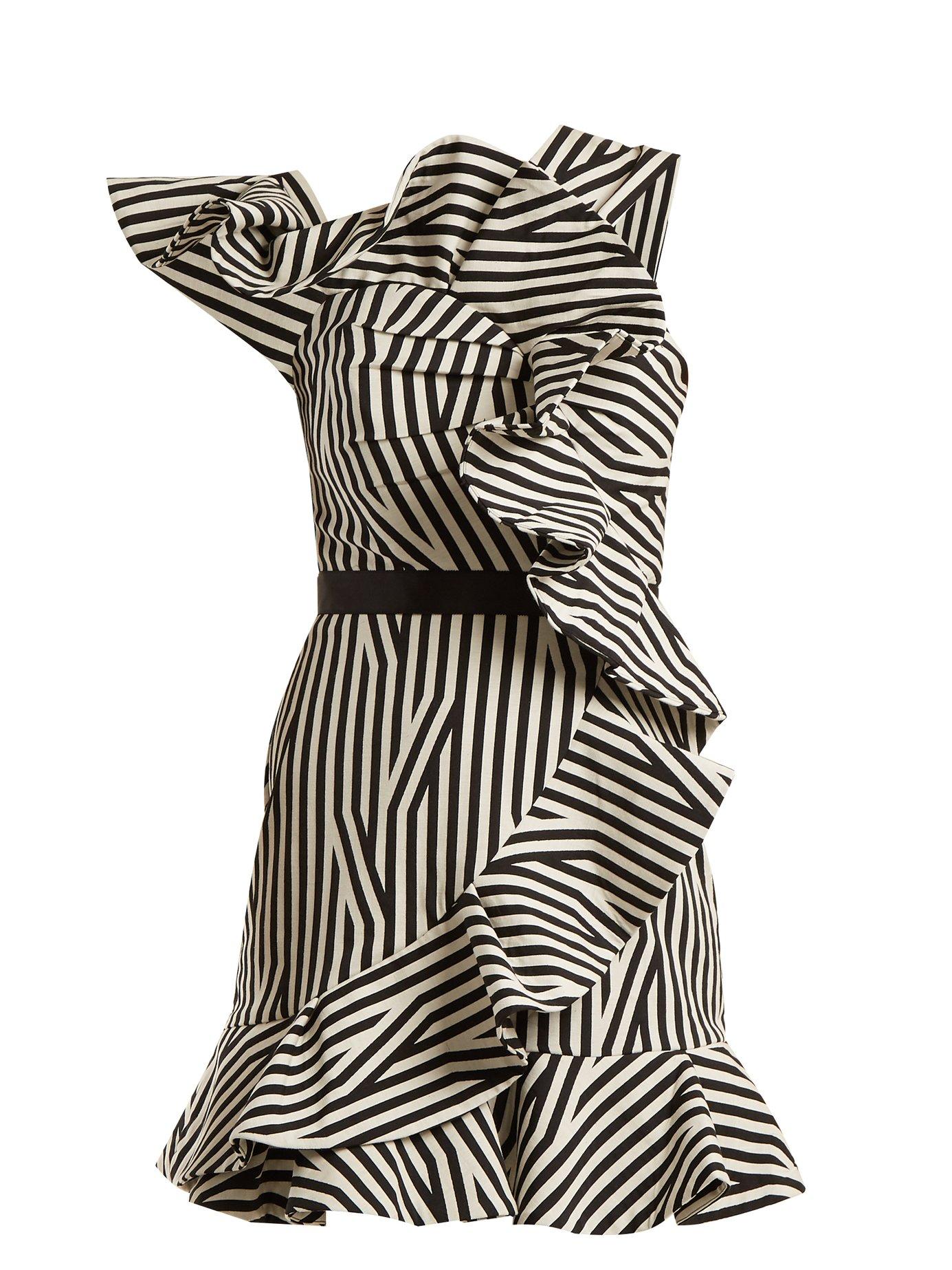 3d376e5a887 Self-Portrait - One-Shoulder Striped Dress