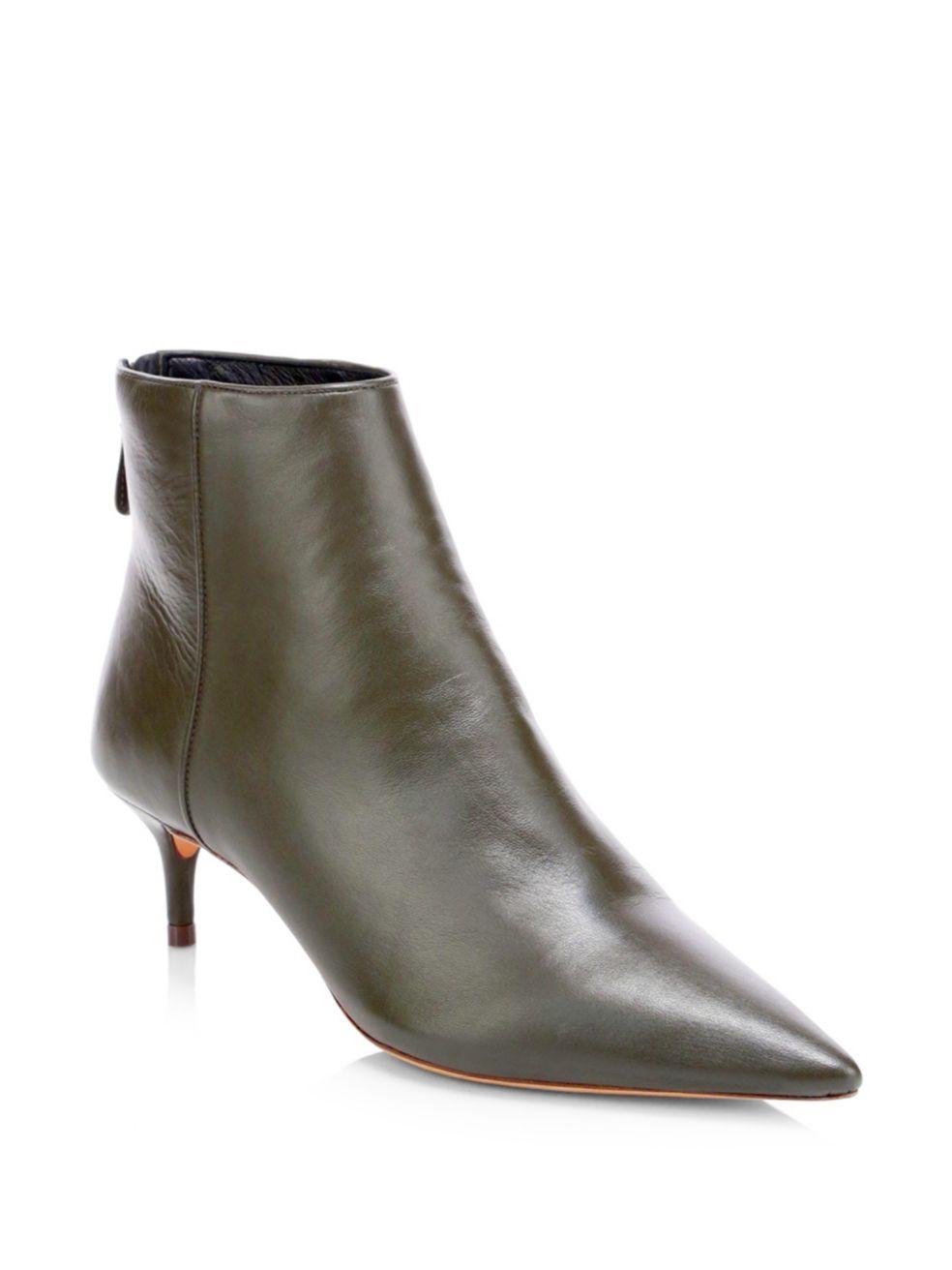235420c3d5 Alexandre Birman - Leather Kitten Heel Booties - Green | FASHION ...
