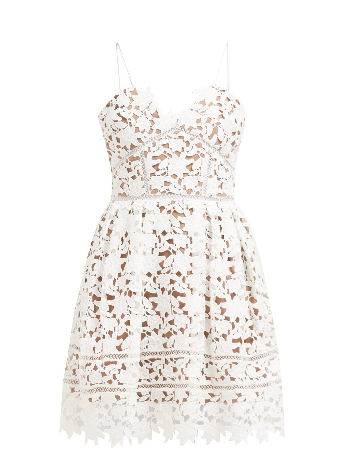 389769f1290911 Self-Portrait - Azaelea Floral-Lace Mini Dress - White | FASHION ...