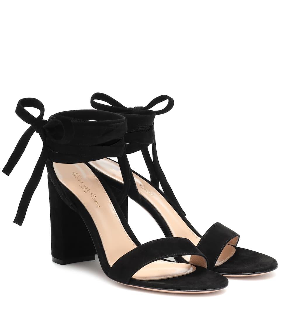 5c8281dbf1 Gianvito Rossi – Gaia 85 Suede Sandals - Black | FASHION STYLE FAN